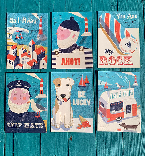 Set of 6 AHOY! Postcards