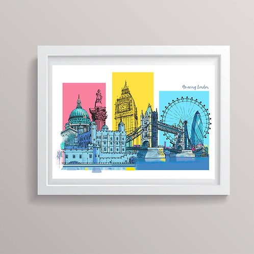 PACK of 2 Amazing London Montage Print