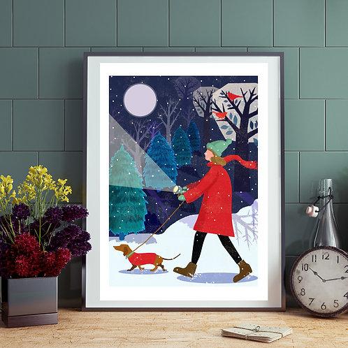 Winter Dachshund Evening Walk Print
