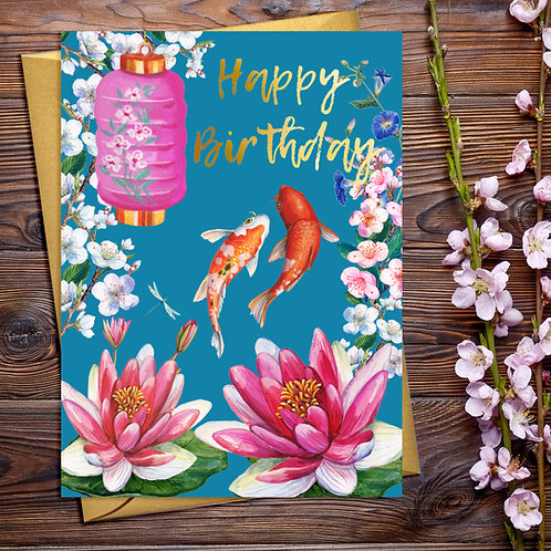 PACK of 6 Happy Birthday Japanese Floral Card with Gold Detail