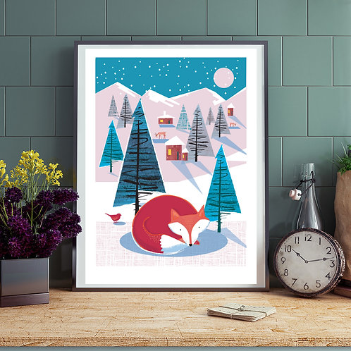 PACK of 2 Cosy Fox Winter Print