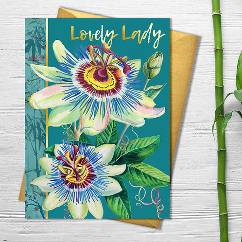 Lovely Lady Passion Flower Card with Gold Detail