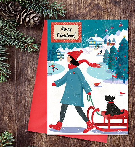 Festive Terrier On Sledge Card