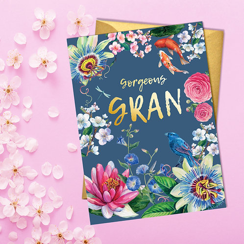 PACK of 6 Gorgeous Gran Japanese Floral Card with Gold Detail