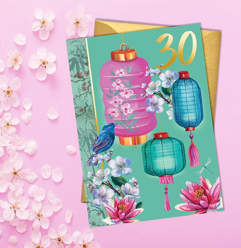30th Birthday Pretty Lanterns Card with Gold Detail
