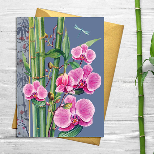 PACK of 6 Pink Orchid Card with Gold Accents