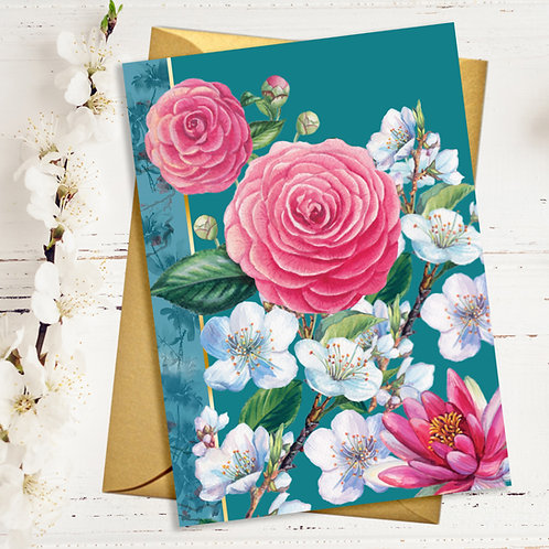 Mixed Floral Blank Card with Gold Accents