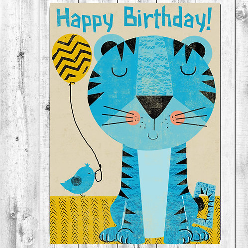PACK of 6 Blue Tiger Birthday Card