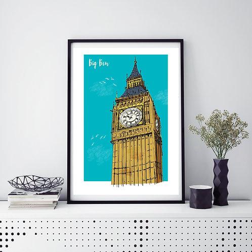 Elizabeth Tower Clock Classic A3 Print