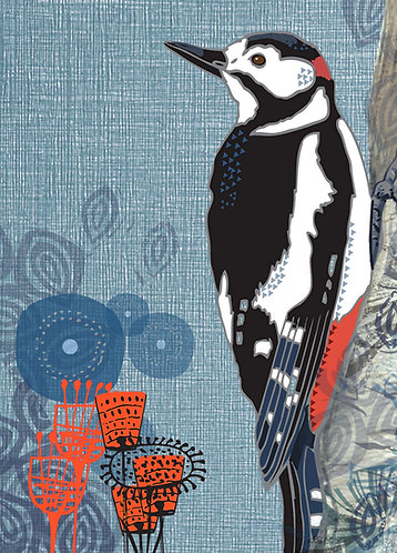 PACK of 6 Greater Spotted Woodpecker Greetings Card