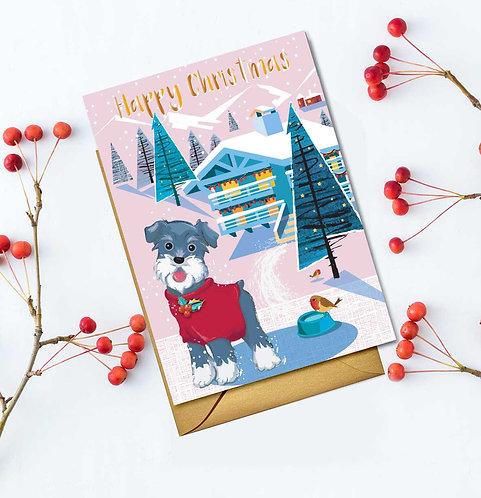 PACK of 6 Festive Christmas Dog Card