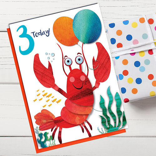 PACK of 6 Lobster Birthday Card