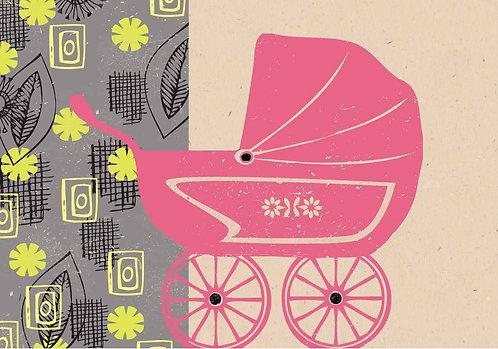 PACK of 6 Pink Retro Pram Card