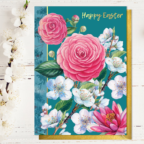 Pretty Flowers Easter Card with Gold Type