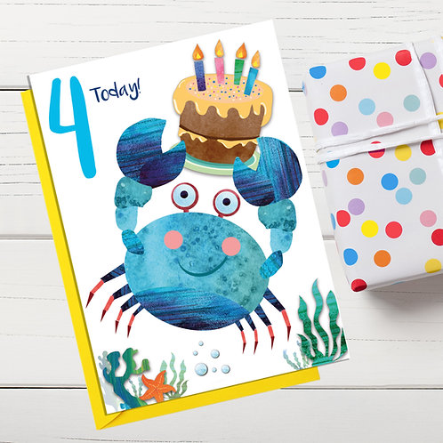 PACK of 6 Crab Birthday Card