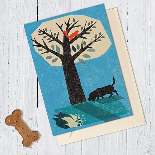 Bassett Hound Dog Card
