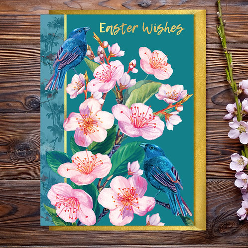 Easter  Wishes Pink Blossom Card with Gold Type