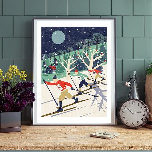 PACK of 2 Skiers Winter Print