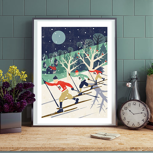 Skiers Winter Print
