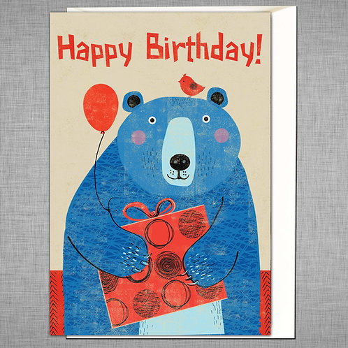 PACK of 6 Blue Bear Birthday Card