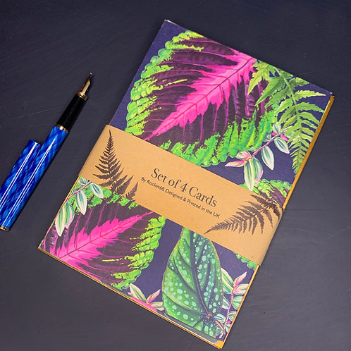 Set of Four Illustrated Houseplant Cards