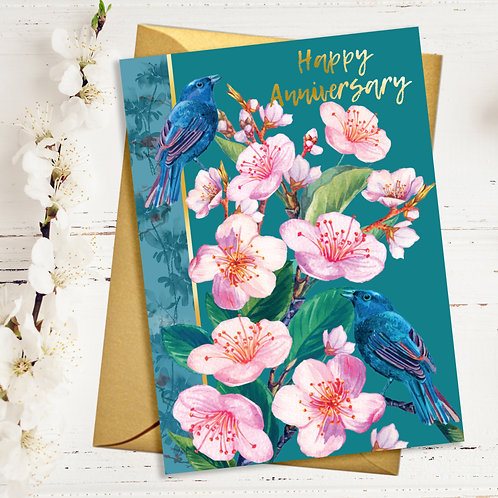 Happy Anniversary Japanese Blossom Card with Gold Detail
