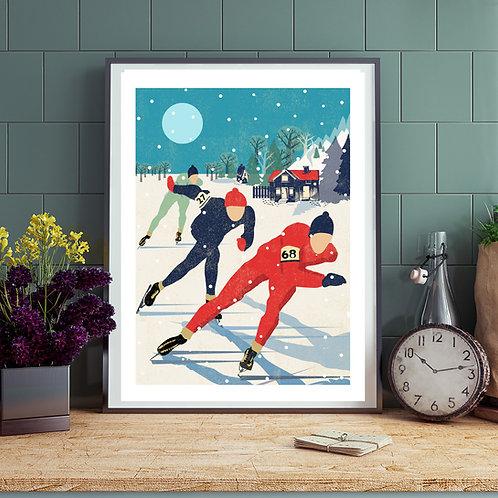 PACK of 2 Speed Skaters Winter Print