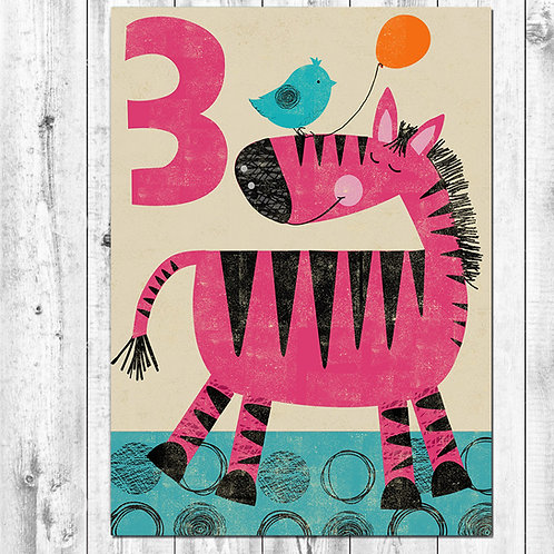 PACK of 6 Zebra Birthday Card