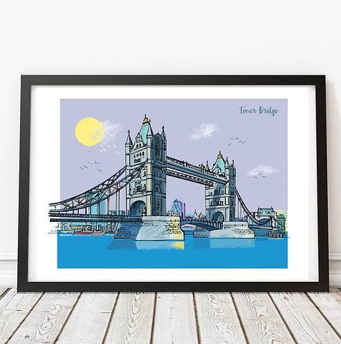 PACK of 2 Classic London Skyline Print