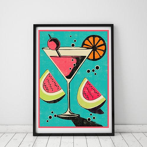 PACK of 2 Martini Print