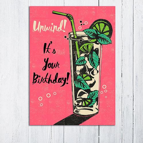 Unwind Birthday Card