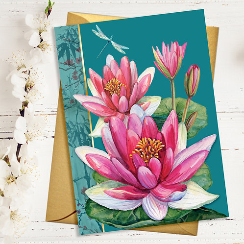 PACK of 6 Water Lily Card with Gold Accents