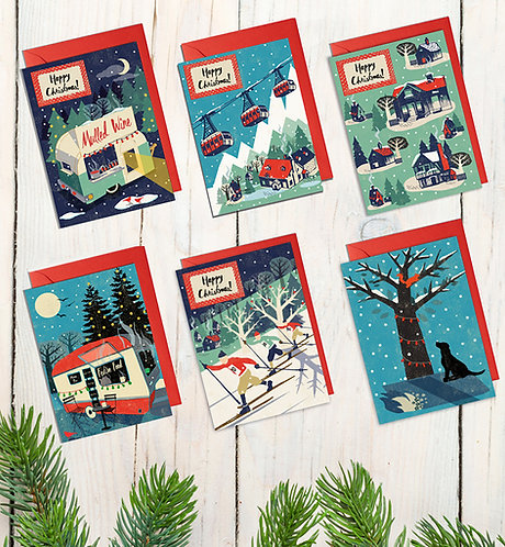 Festive Set Of 6 Nordic Style Christmas Cards