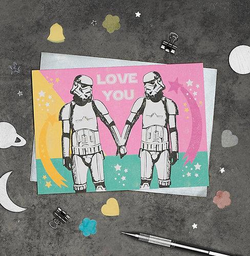 PACK of 6 Stormtrooper Love You Greetings Card