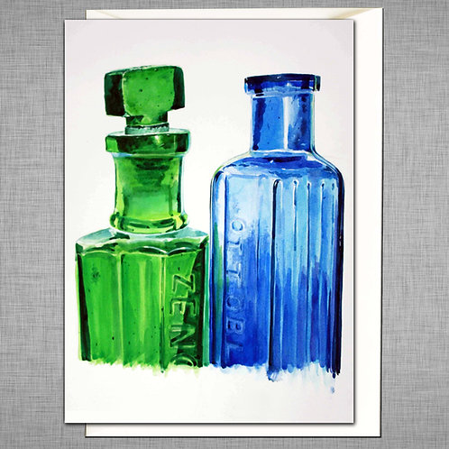 Blue and Green Bottle Card