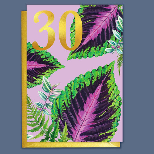 30th Birthday Houseplants Card with Gold Type