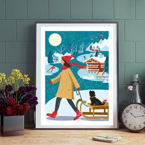 PACK of 2 Winter Terrier Dog Walk Print