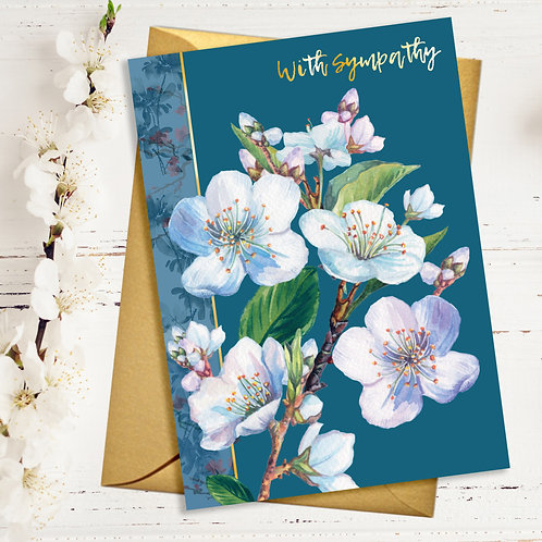 With Sympathy Delicate Blossom Card with Gold Detail