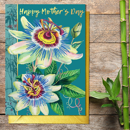 Mother's Day Passion Flower Card with Gold Type