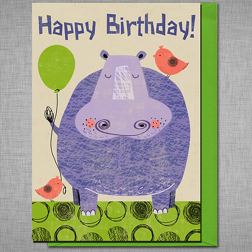Purple Hippo Birthday Card