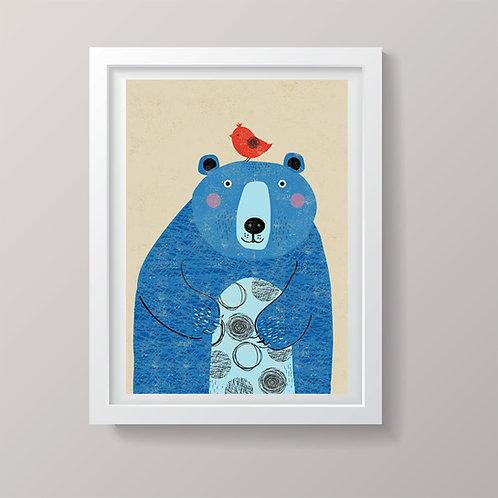 PACK of 2 Blue Bear Print