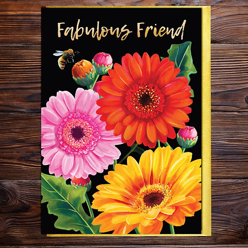 PACK of 6 Gerbera Fabulous Friend Blank Card with Gold Type