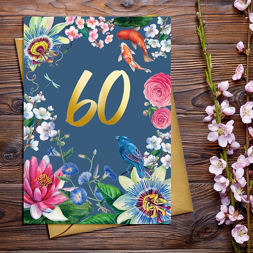 60th Pretty Birthday Card with Gold Detail