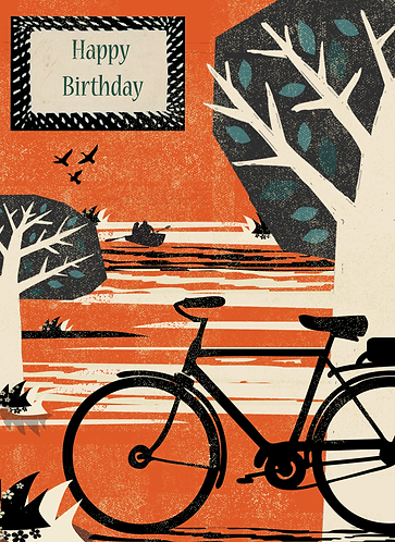 PACK of 6 Bike in the Park Birthday Card