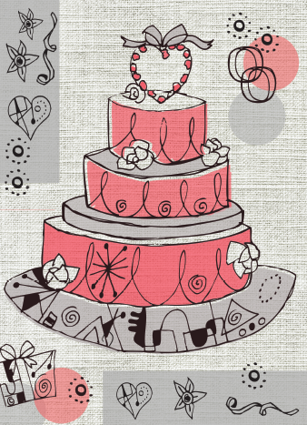 PACK of 6 Cake Card