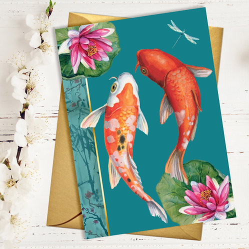 Koi Fish Blank Card with Gold Accents