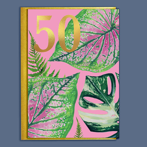 50th Birthday Houseplants Card with Gold Type