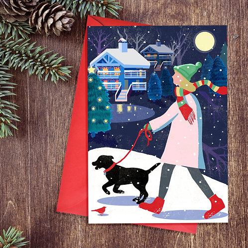 Festive Labrador pup card