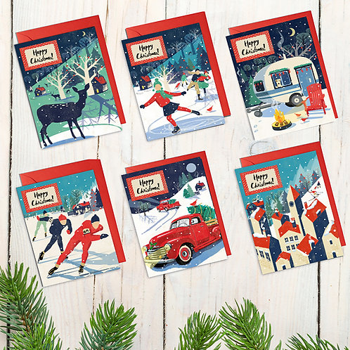 Set Of 6 Nordic Style Christmas Cards