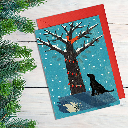 PACK of 6 Dog and Tree Christmas Card